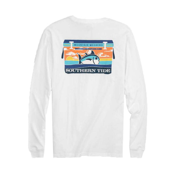Southern Tide Mountain Weekend Cooler Long Sleeve T-Shirt in Classic White