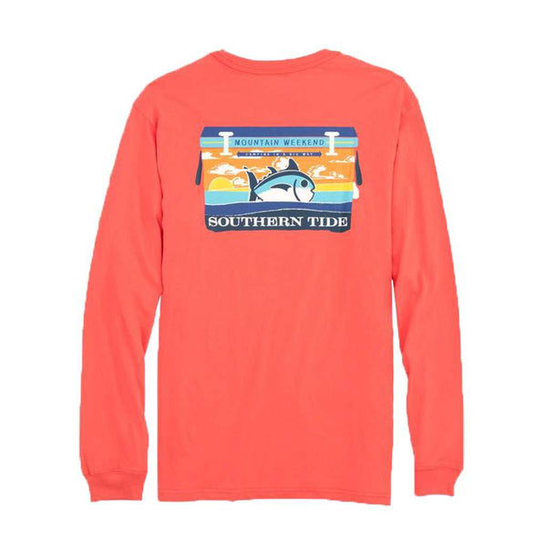 Southern Tide Mountain Weekend Cooler Long Sleeve T-Shirt in Sea Coral