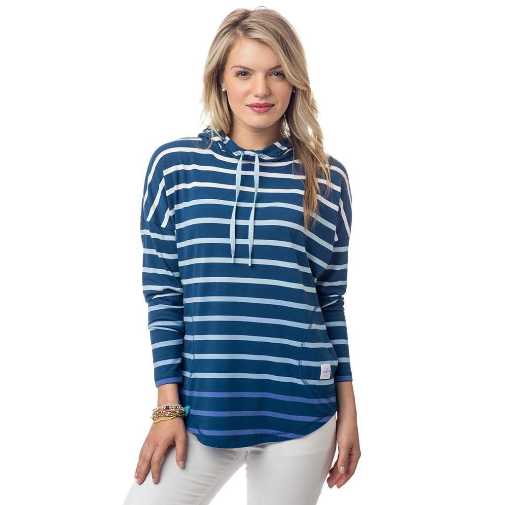 Southern Tide Ombre Stripe Skipper Hoodie in Yacht Blue