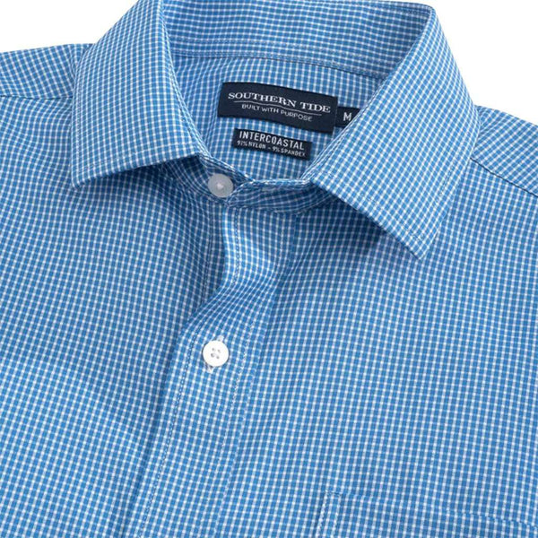 Southern Tide Pitons Plaid Brrr Intercoastal Performance Shirt cobalt blue