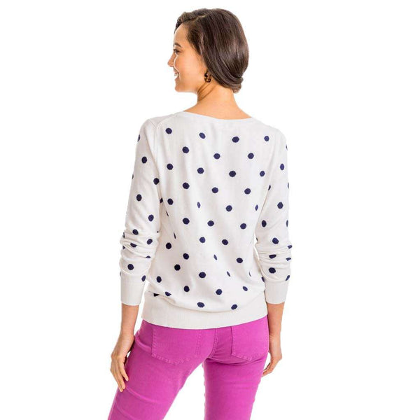 Rebecca Dot Crew Sweater in White Alyssum by Southern Tide
