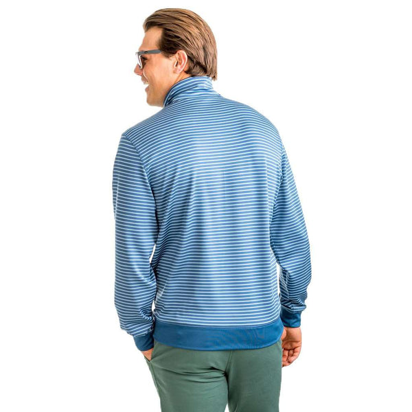 Southern Tide Riverbend Stripe Performance 1/4 Zip Pullover in Ash Blue by Southern Tide