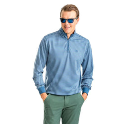 Southern Tide Riverbend Stripe Performance 1/4 Zip Pullover in Ash Blue