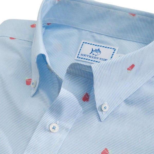 Southern Tide Rum Swizzle Short Sleeve Sport Shirt in Ocean Channel