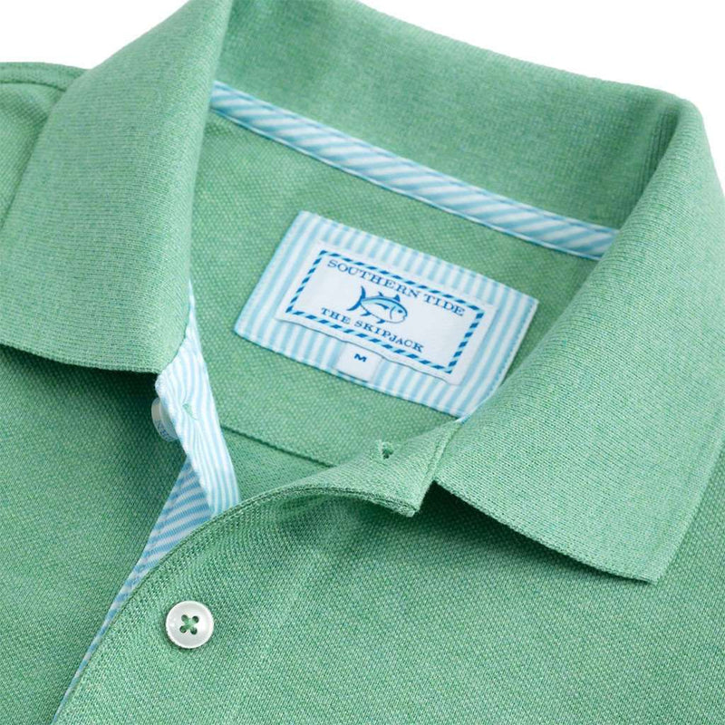 Signature Stripe Placket Skipjack Polo in Pool Green by Southern Tide - FINAL SALE