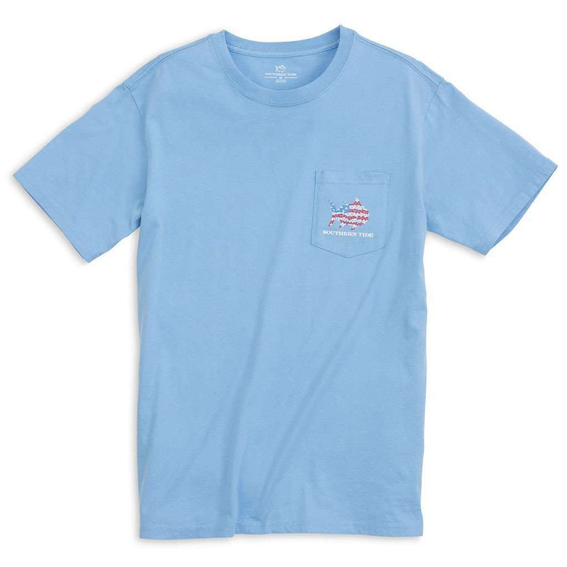 Skipjack Flag Tee Shirt in Ocean Channel by Southern Tide - FINAL SALE