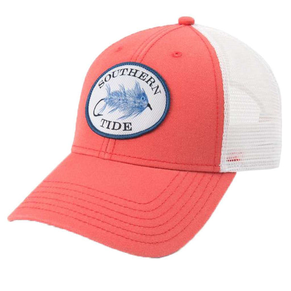 Southern Tide Skipjack Fly Patch Washed Trucker Hat in Sea Coral