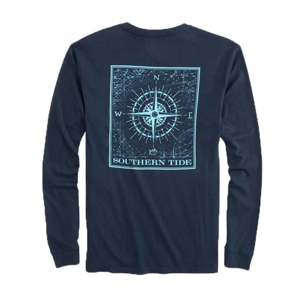 Southern Tide Southern Compass Long Sleeve T-Shirt in True Navy