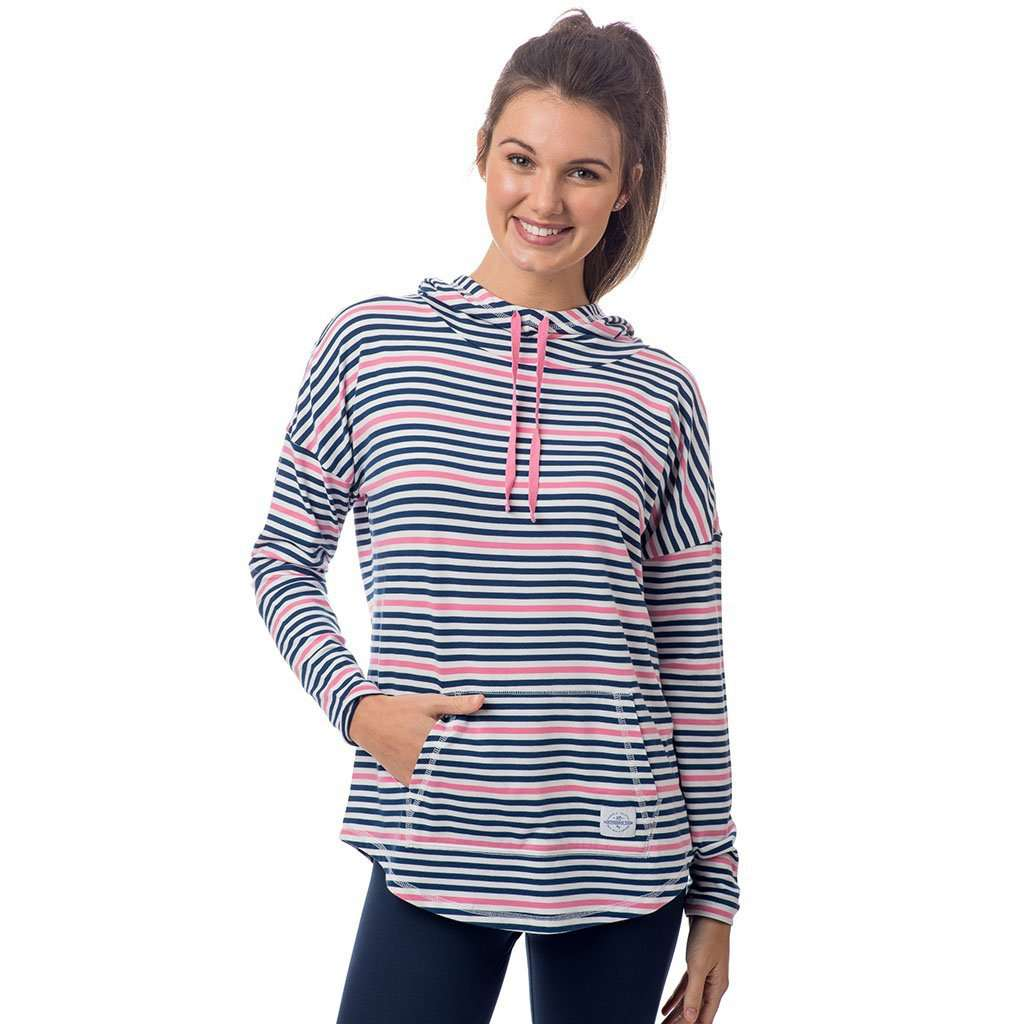 Southern Tide Striped Skipper Hoodie in Smoothie Pink