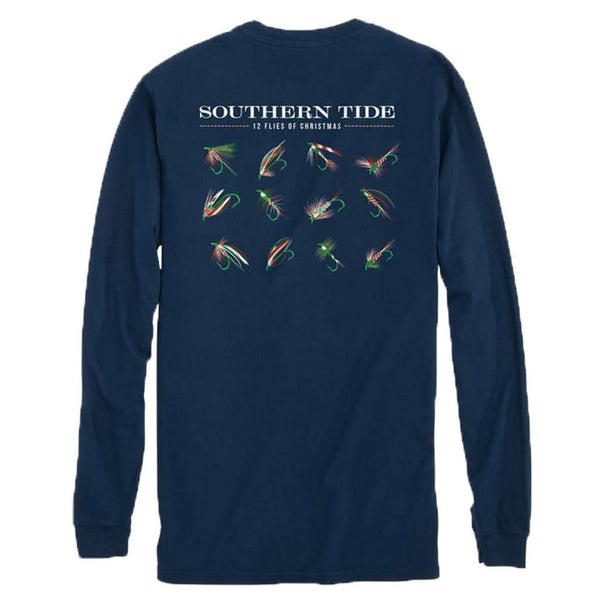 Southern Tide Twelve Flies of Christmas Long Sleeve T-Shirt in True Navy