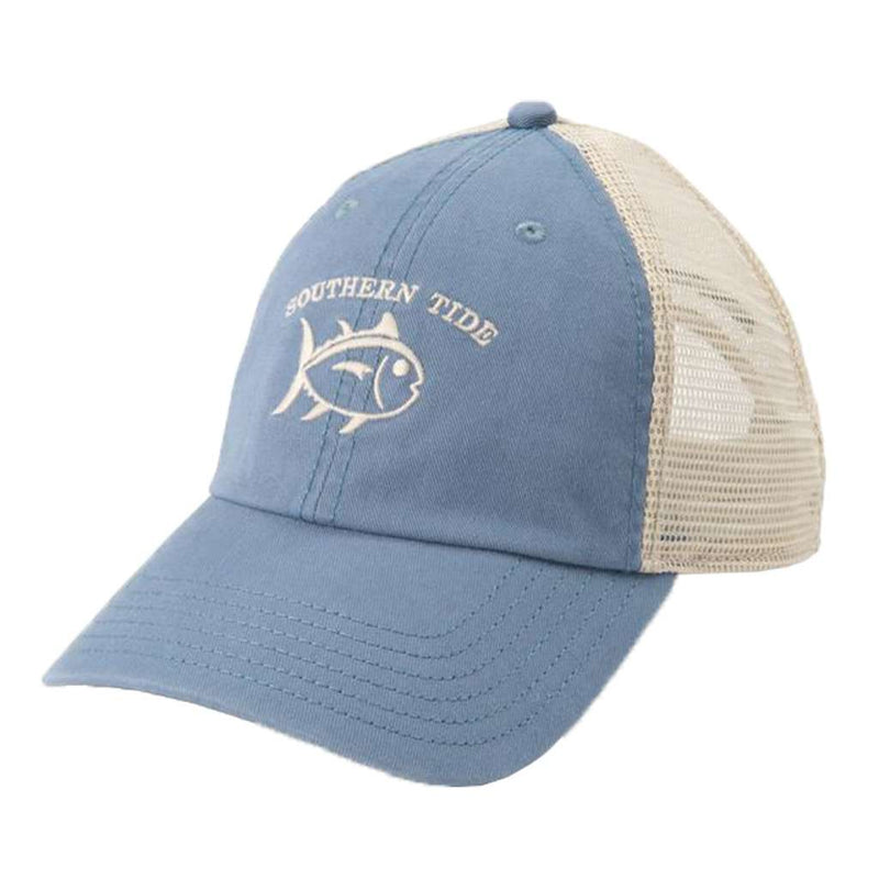 Washed Skipjack Trucker Hat in Ash Blue by Southern Tide