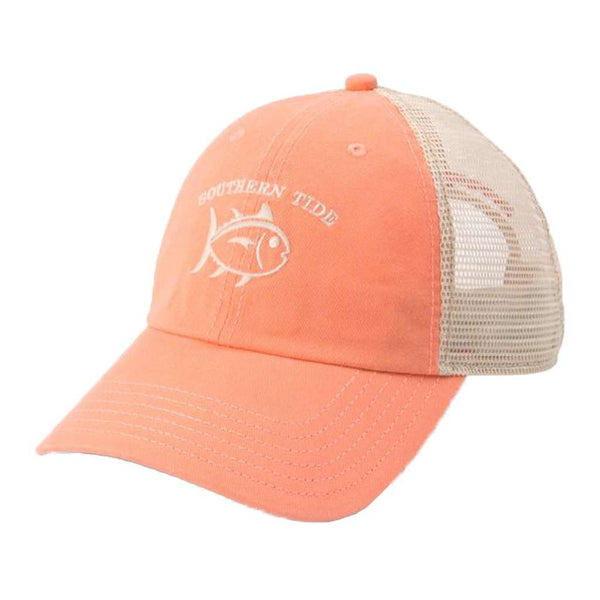 Southern Tide Washed Skipjack Trucker Hat in Papaya Punch