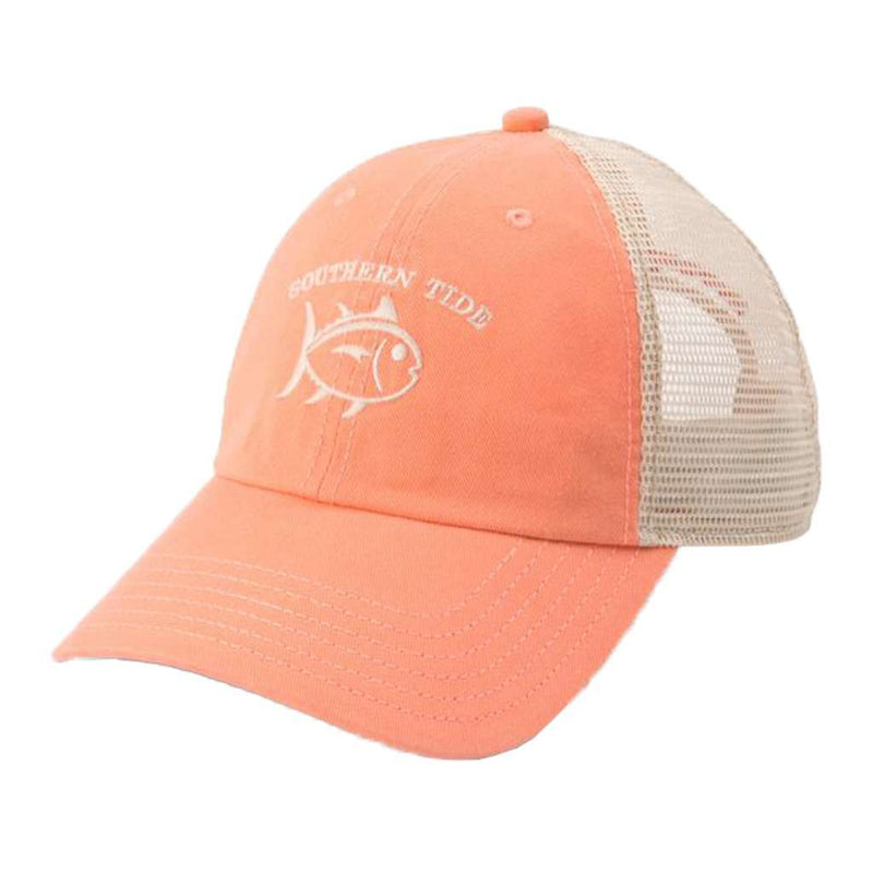 Washed Skipjack Trucker Hat in Papaya Punch by Southern Tide
