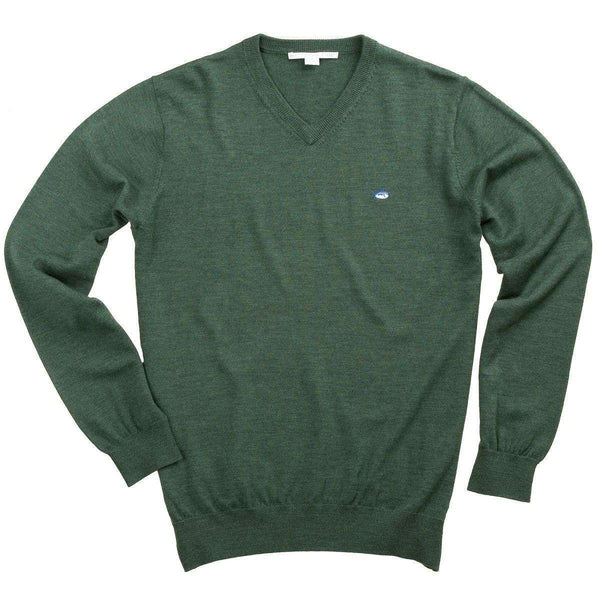 V-Neck Merino Sweater in Alligator Green by Southern Tide