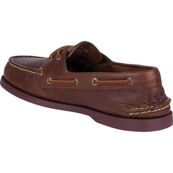 Men's Authentic Original 2-Eye Color Pop Boat Shoe in Brown/Plum by Sperry - FINAL SALE
