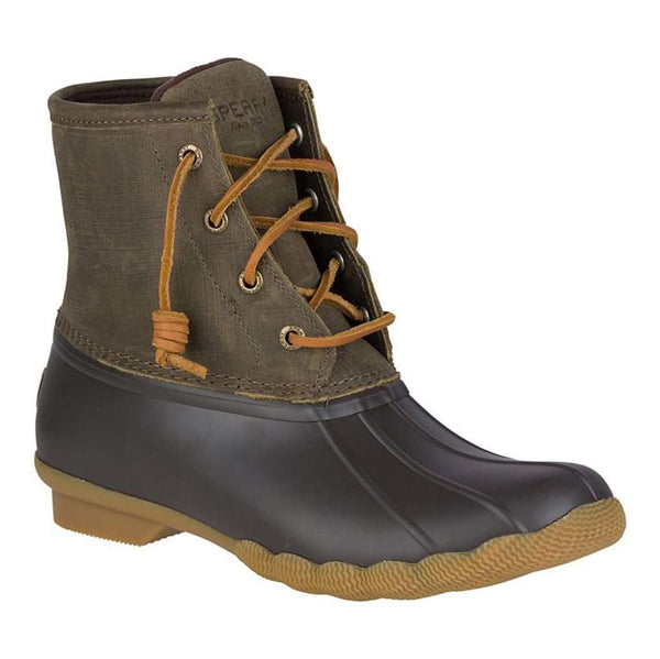 Sperry Women's Saltwater Duck Boot in Brown and Olive