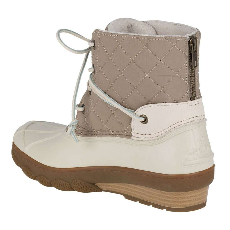 14ea534923bf Sperry Women s Saltwater Wedge Tide Quilted Nylon Duck Boot in Oat ...