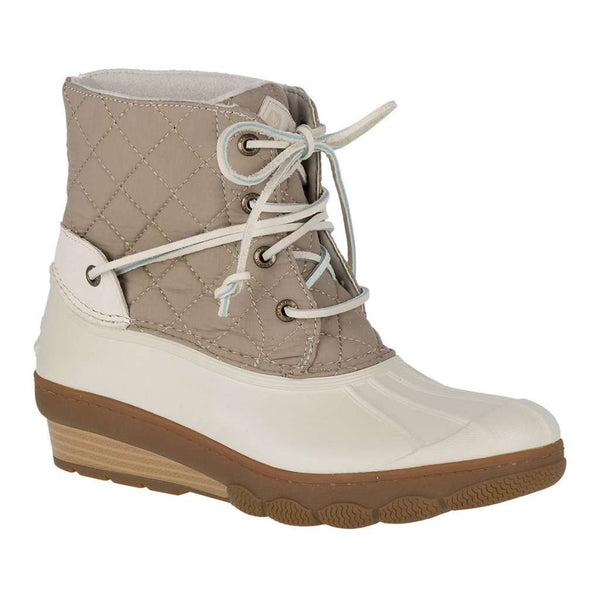 Sperry Women's Saltwater Wedge Tide Quilted Duck Boot in Nylon Oat