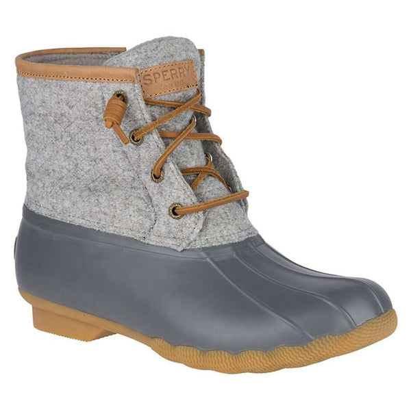 Sperry Women's Saltwater Wool Emboss Duck Boot in Dark Grey