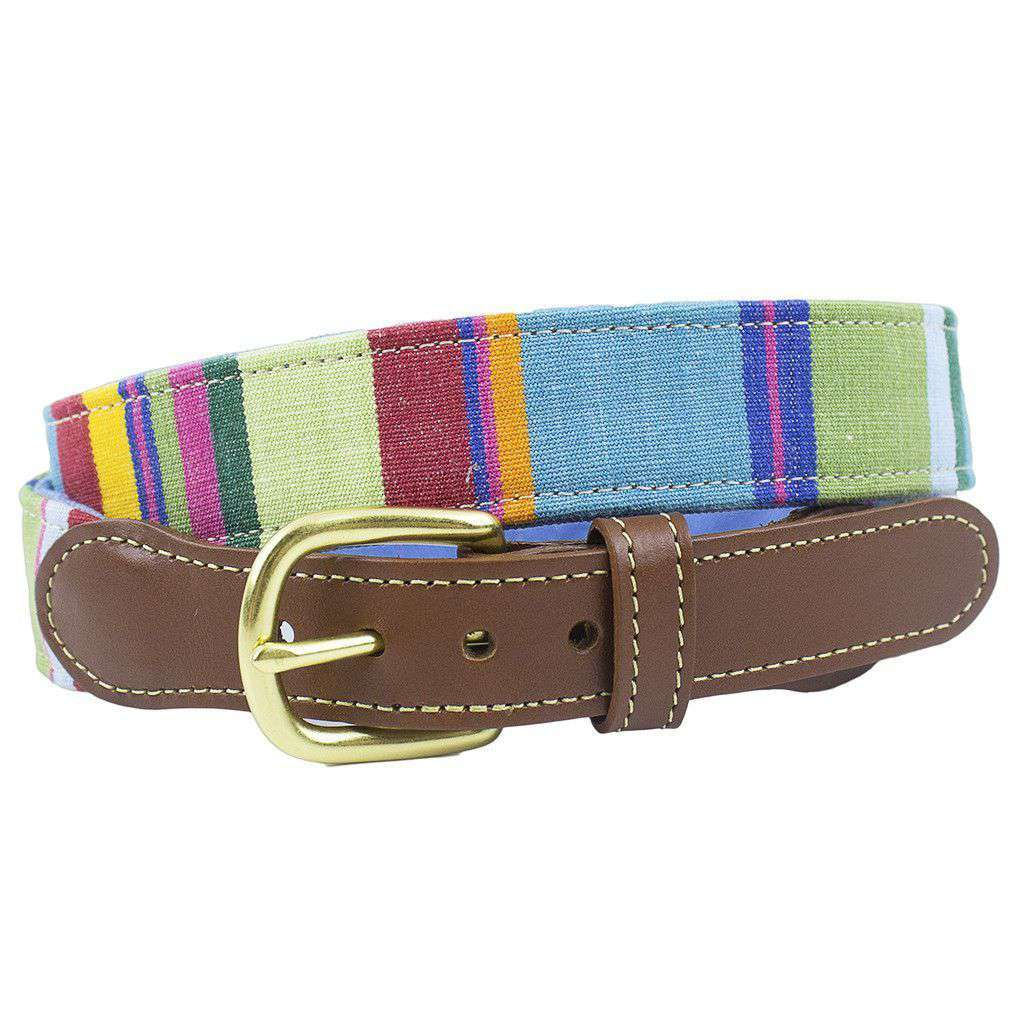 Squadren Stripe Leather Tab Belt in Bowling by Country Club Prep  - 1