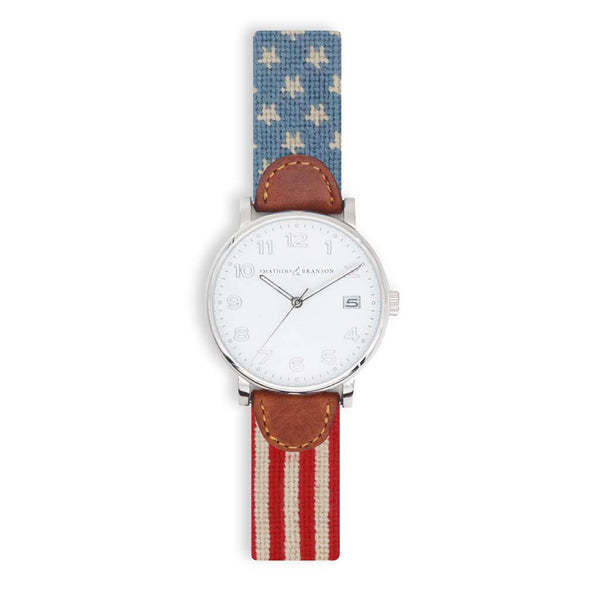 Stars & Stripes Needlepoint Watch by Smathers & Branson