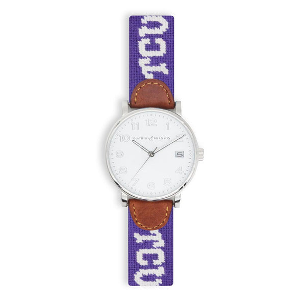 TCU Needlepoint Watch by Smathers & Branson