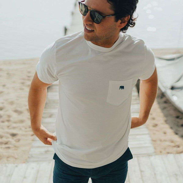 Circle Back Short Sleeve Pocket Tee in White & Atlantic by The Normal Brand - FINAL SALE