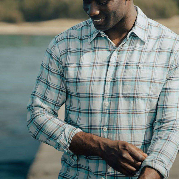The Normal Brand Clayton Twill Button Up in Pacific by The Normal Brand