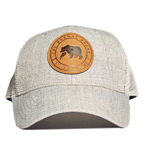 Leather Patch Trucker Cap in Grey by The Normal Brand - FINAL SALE