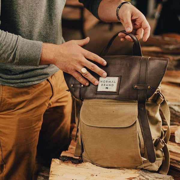 The Top Side Leather Backpack in Tan by The Normal Brand - FINAL SALE