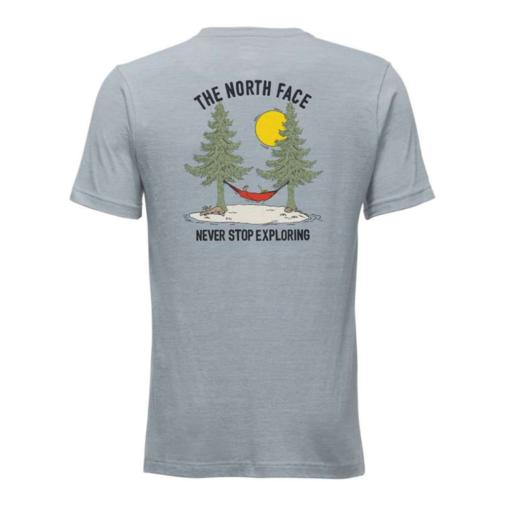 The North Face Men's Short-Sleeve Tree Tri-Blend Tee in Dusty Blue Heather