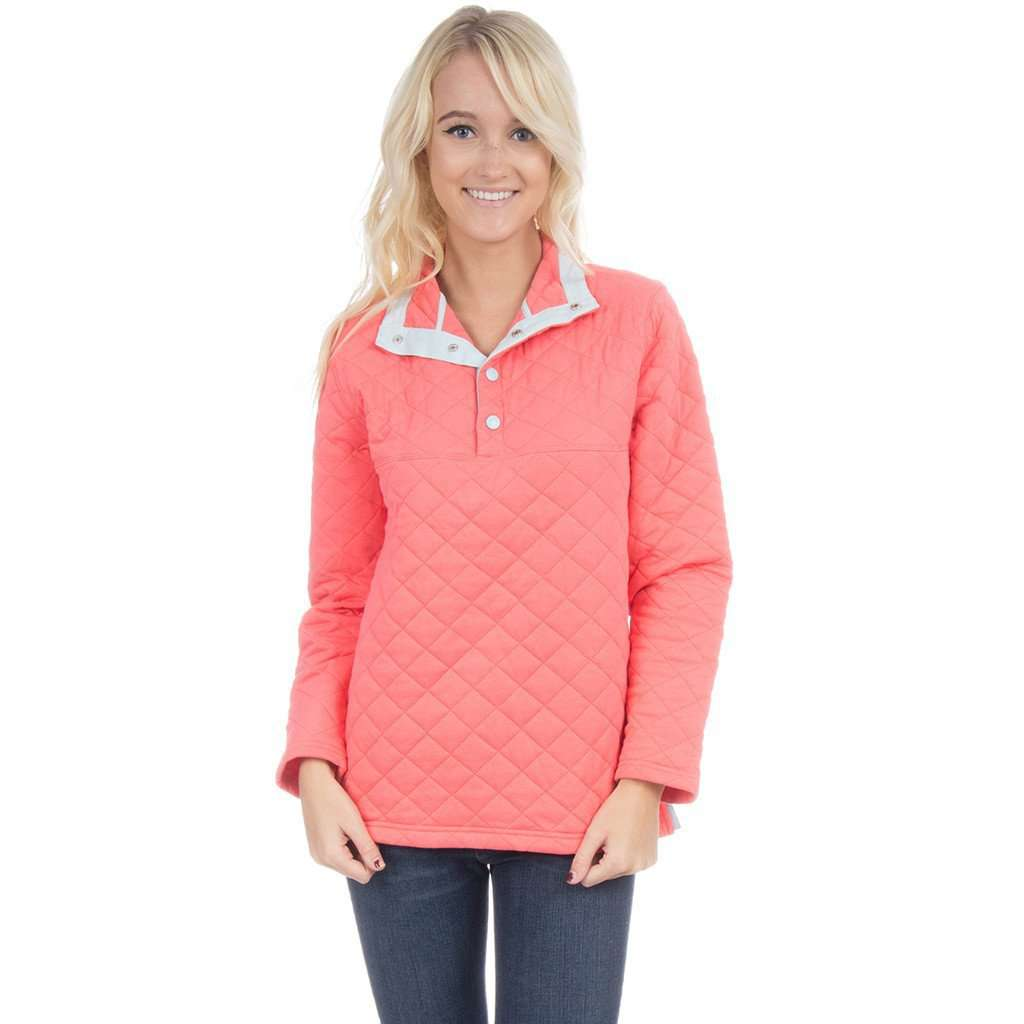 The Lawson Quilted Pullover in Coral by Lauren James  - 1