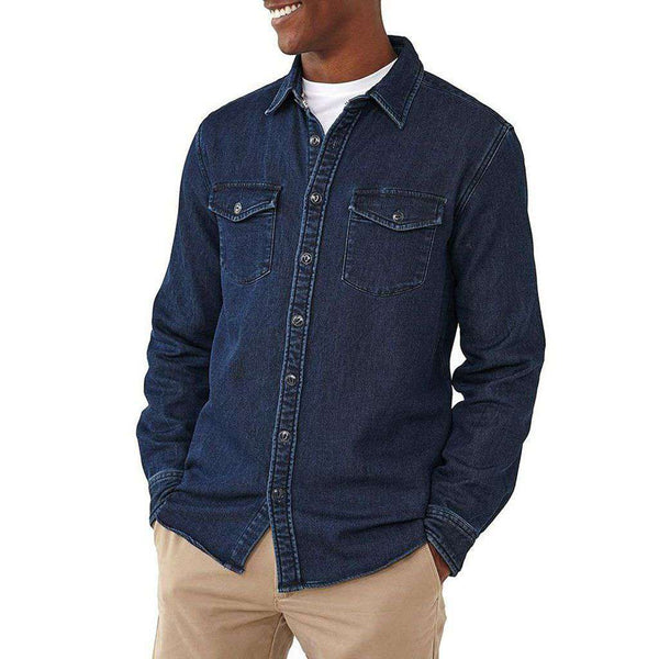 The Normal Brand Big Jake Indigo Knit Shirt in Dark Indigo
