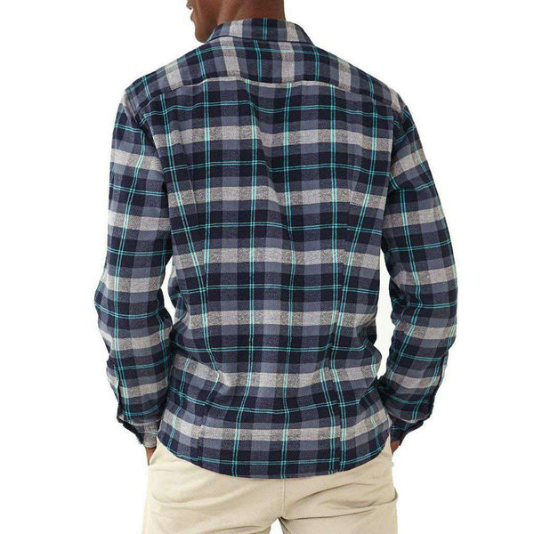 Conrad Plaid Woven Button Down In Navy/Teal by The Normal Brand - FINAL SALE