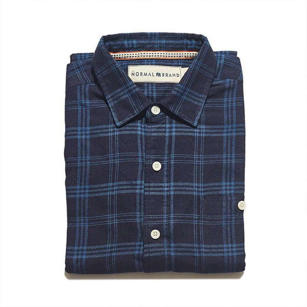 The Normal Brand Indigo Blue on Blue Button Up Shirt