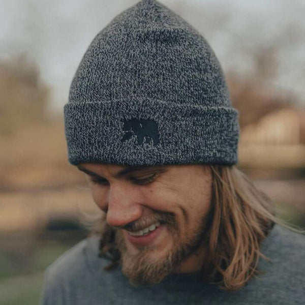 The Normal Brand Knit Beanie in Heathered Navy by The Normal Brand