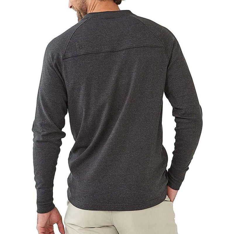 The Normal Brand Long Sleeve Puremeso Henley Tee in Charcoal