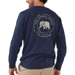 The Normal Brand Long Sleeve Vintage Circle Back T in Navy