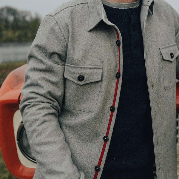 Senior Wool Shirt Jacket in Ash by The Normal Brand - FINAL SALE