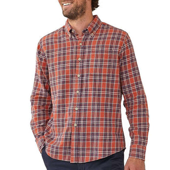 The Normal Brand Washed Seasons Plaid Button Down in Rust/Navy