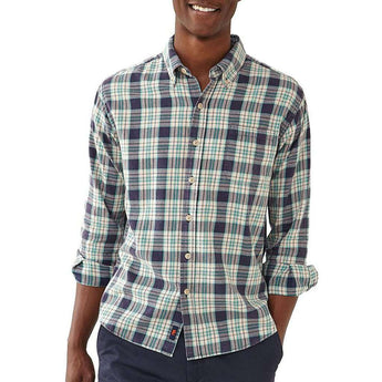 The Normal Brand Washed Seasons Plaid Button Down in Teal/Navy/Stone