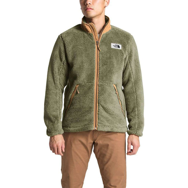 The North Face Men's Campshire Full Zip Sherpa Fleece in Four Leaf Clover & Cargo Khaki