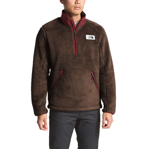 The North Face Men's Campshire Sherpa Fleece Pullover in Bracken Brown & Sequoia Red