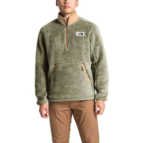 The North Face Men's Campshire Sherpa Fleece Pullover in Four Leaf Clover & Cargo Khaki