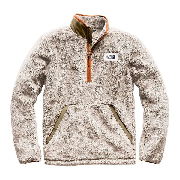 The North Face Men's Campshire Sherpa Fleece Pullover in Granite Bluff Tan & Beech Green