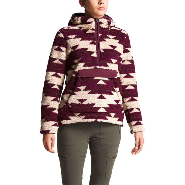 Women's Campshire Sherpa Fleece Pullover Hoodie in Dune Beige California Basket Print by The North Face - FINAL SALE