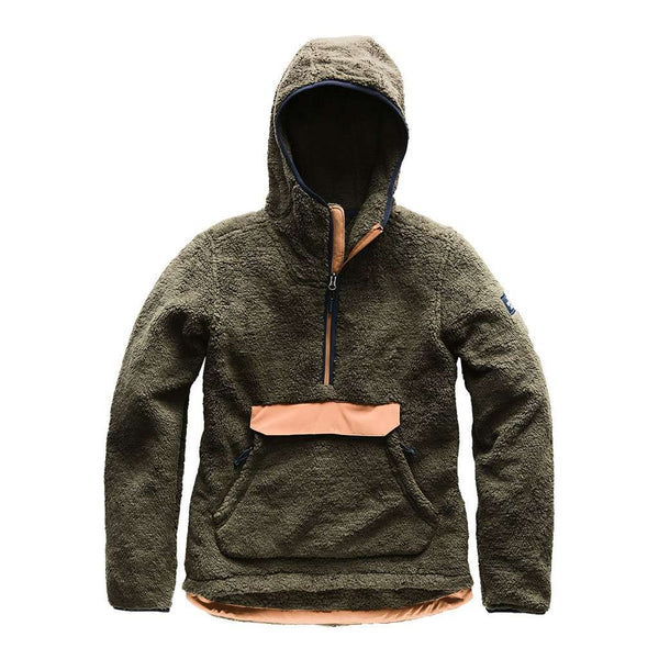 The North Face Women's Campshire Sherpa Fleece Pullover Hoodie in New Taupe Green & Cargo Khaki