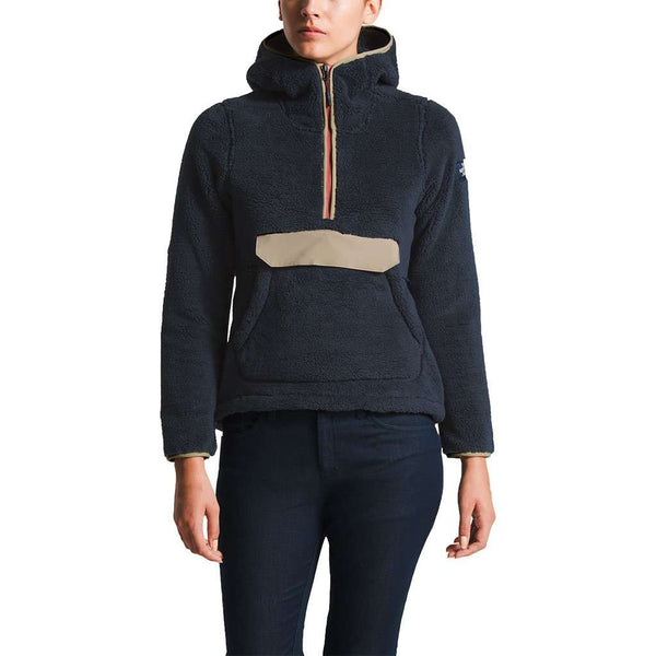 The North Face Women's Campshire Sherpa Fleece Pullover Hoodie in Urban Navy & Dune Beige by The North Face