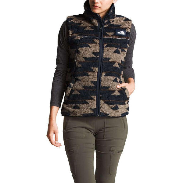 a359179dd Women's Campshire Sherpa Vest in Weimaraner Brown California Basket Print  by The North Face - FINAL SALE