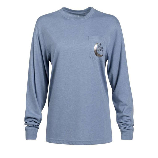 The Southern Shirt Co. Foil Moon Dial Long Sleeve Tee in Country Blue